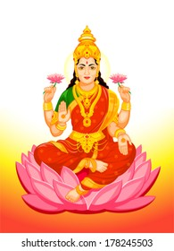 Hindu Goddess Lakshmi of wealth, prosperity, fortune, and the embodiment of beauty
