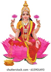 Hindu Goddess Lakshmi of wealth triangulation