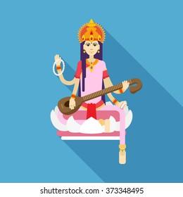 Hindu Goddess Saraswati. Happy Vasant Panchami. Vector flat illustration.