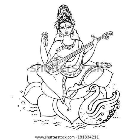 Hindu Goddess Saraswati Vector Hand Drawn Vector de stock (libre de ...