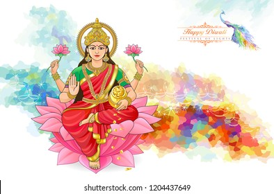 The Hindu goddess of wealth. Divine being sitting on a flower.