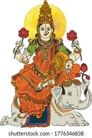 The Hindu goddess of wealth Lakshmi Seated on White Elephant