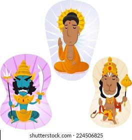 Hindu gods set 2, buddah, hanuman, ravana.