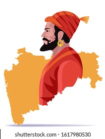 hindu king shivaji maharaj with maharashtra map vector illustration