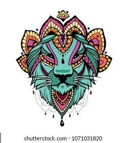 Hindu lion tatoo color
