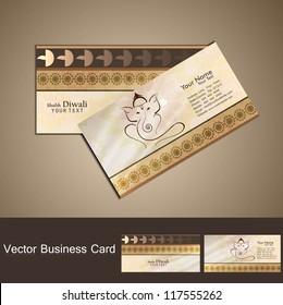 Hindu Lord Ganesha business card beautiful colorful vector
