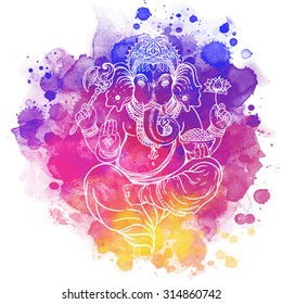 Hindu Lord Ganesha. Meditation concept. Vector illustration. Over colorful watercolor background.