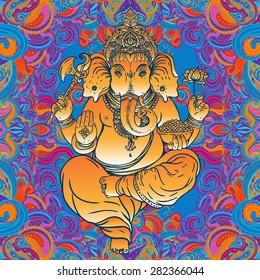 Hindu Lord Ganesha over ornate colorful mandala. Vector illustration.
