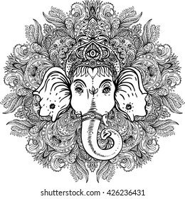 Hindu Lord Ganesha Over Ornate Mandala Pattern Vector Illustration Vintage Decorative Hand Drawn
