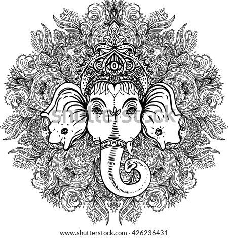 Hindu Lord Ganesha Over Ornate Mandala Vector de stock (libre de ...