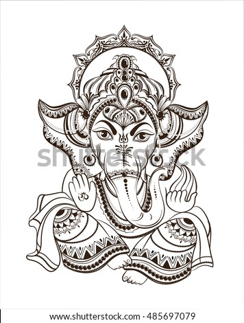 Hindu Lord Ganesha Vector Illustration Coloring Vector de stock ...