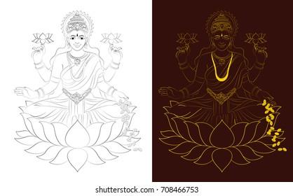 Hindu mythological Godess Laxmi or lakshmi illustration or vector line drawing