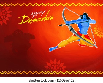 Hindu Mythological Lord Rama taking an aim against Demon Ravana concept for Dussehra Festival celebration. Poster or banner design.