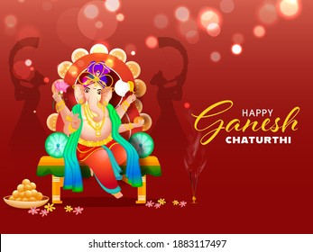 Hindu Mythology Lord Ganesha At Throne Idol With Indian Sweet (Laddu) And Silhouette Tutari Player Men On Red Bokeh Effect Background For Happy Ganesh Chaturthi Celebration. - Shutterstock ID 1883117497