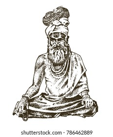 Hindu in national dress. Indian spiritual monk meditating and landmark or architecture. Traditional religious sadhu. engraved hand drawn in old sketch, vintage style.