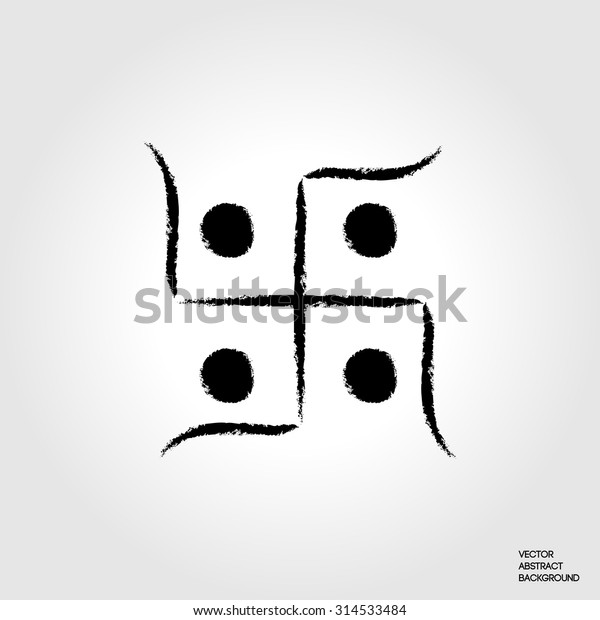 Hindu sacred sound Om. Indian swastika. Hinduism symbol. Hindu cross.