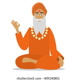 Hindu sadhu monk meditating isolated. Cartoon happy monk sadhu ok design. Traditional religious sadhu sitting. ok, don't worry. happy monk. flat vector monk illustration. monk person icon. okay, ok.