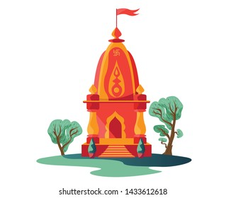 hindu temple with flag and trees isolated
