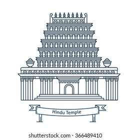Hindu temple. Hinduism symbol. Indian temple. Flat line vector architecture illustration. Outlined religion stroke icon. Religion building. For poster, flyer, web, banner, header, hero image.