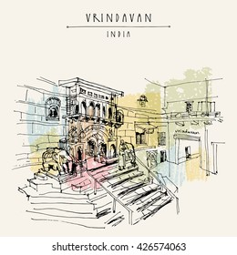 A Hindu temple in the holy city of Vrindavan, India. Sacred Krishna place. Vintage hand drawn postcard template. Vector illustration