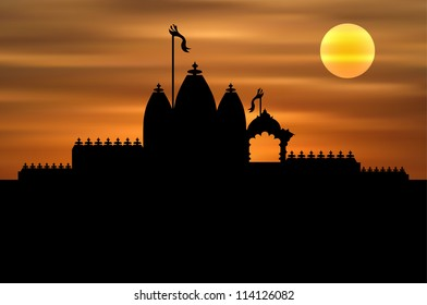 Hindu Temple on Sunset Background (EPS10 Vector)