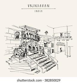A Hindu temple in Vrindavan, India. Travel sketch. Vintage hand drawn postcard template. Vector illustration
