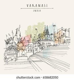 Hindu temples in Varanasi, Uttar Pradesh, India. Hand drawn architectural cityscape. Vintage artistic postcard template. Vector illustration