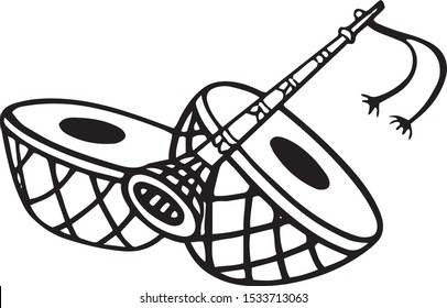 Hindu Wedding Card Design Element vector illustration. In Indian Marriage using traditional musical instruments