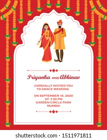 Hindu wedding invitation card design template vector illustration