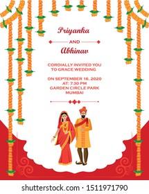 Hindu wedding invitation card template design vector illustration