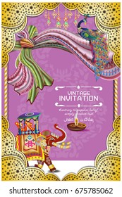Hindu wedding knot tied with man and woman vector illustration of Indian wedding invitation card with abstract background. Islam, Arabic, ceremony in vector templates Ethnic Colorful Mandala design