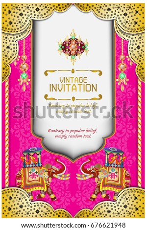 hindu wedding knot tied with man and woman vector illustration of indian wedding invitation card with