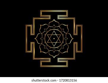 hinduism Bhuvaneshwari yantra Prakriti sacred diagram, 6 pointed star. Gold Yantra Dasa Mahavidya sacred geometry divine mandala, vector illustration bhupura lotus petals isolated on black background