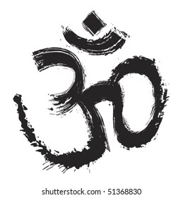 Hinduism religion symbol om created in grunge style