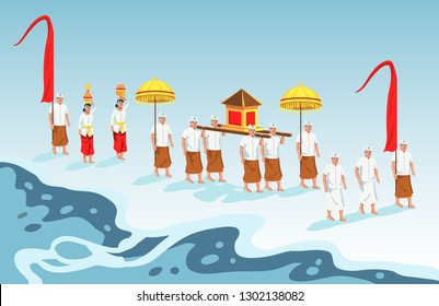 Hindus on Indonesia's island of Bali walk to the beach to perform  purification ceremony of Melasti.