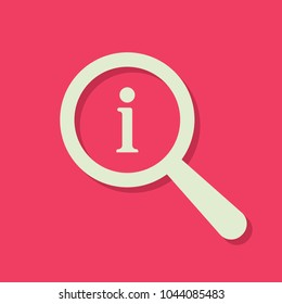 Hint icon. Search icon with information sign. Search icon and about, faq, help, hint concept. Vector icon
