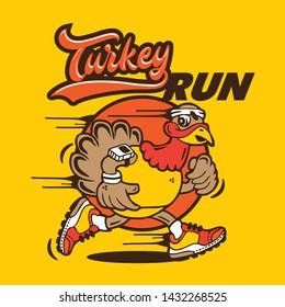 Hip Funky Turkey Running Character Design