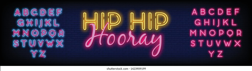 Hip Hip Hooray neon text vector with a Brick Wall Background design template. light banner design element colorful modern design trend  night bright advertising  bright sign. Vector. Editing Text Neon