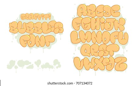 Bubble Graffiti Font Images, Stock Photos & Vectors