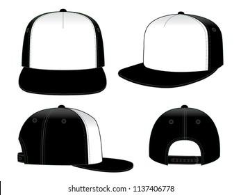 Hip Hop Cap Design Vector  : White / Black
