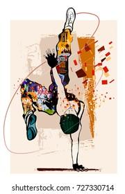 Hip hop dancer on grunge background - vector illustration