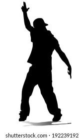 hip hop dancer vector silhouette