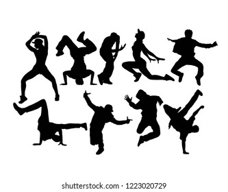 Hip Hop Dancing Silhouettes, art vector design