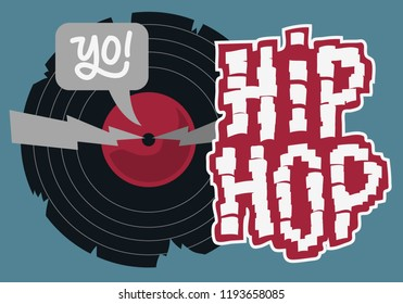 Hip Hop Design With A Broken Vinyl Record . Vector Image.