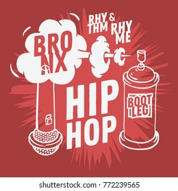 Hip Hop  Design  With A Microphone And Graffiti Spray Can Baloon. Artistic Cartoon Hand Drawn Sketchy Line Art Style. Vector Graphic.