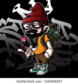 hip hop graffiti character
