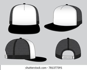 Hip Hop Hat for Template, Black/White