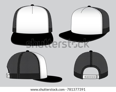 hip hop hat template black white stock vector royalty free