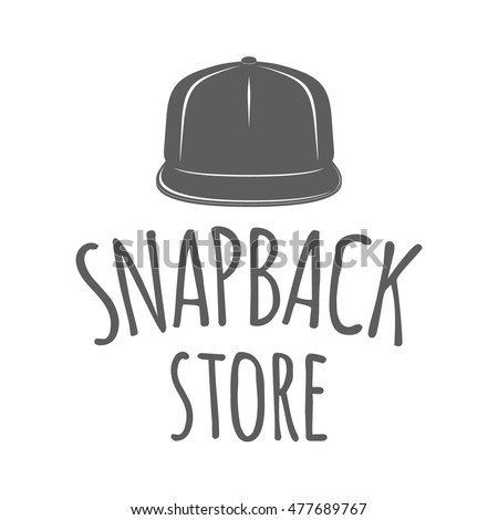ea1478ea7db Hip hop hats shop logo. Monochrome vector badge with text in hand drawn  style isolated on white background. Emblem for rap cap store advertising or  ...