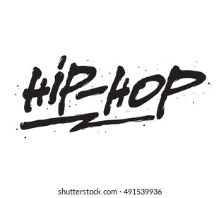 Hip - Hop, ink hand lettering. Modern brush calligraphy. Handwritten phrase.